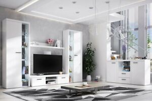 Living Room furniture set White entertainment unit tv stand New sideboard GREY