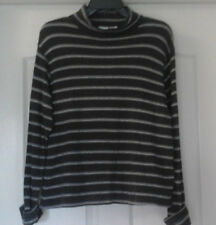 LADIES CHEROKEE GRAY WITH GRAY STRIPES TURTLENECK SWEATER - SIZE M