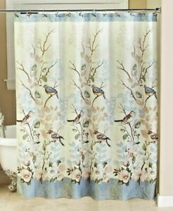 Bluebird Fabric Shower Curtain Bathroom Birds on Branches Floral Garden Bath NEW