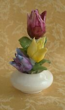 VINTAGE Golden Crown Hand Painted Flowers Fine Bone China E&R England
