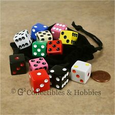 NEW 12 Multicolored Dice & Bag Set RPG Bunco Board Game Six Sided 16mm D6 Koplow