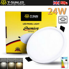Round 24W LED Ceiling Light Recessed Ultra Slim Panel Flat 4000K Natural White