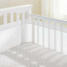 Breathable Baby Airflow Baby 4 Sided Mesh Airflow Cot Bumper Liner - White