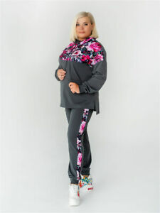 Gray Tracksuit For Women Floral Pattern Costume Flowers Plus Size Hoodie Pants