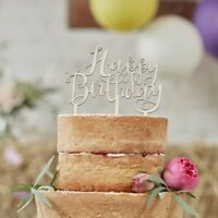 HAPPY BIRTHDAY WOODEN CAKE TOPPER - BOHO / Cake Decoration, Party Deco