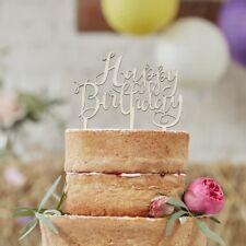 HAPPY BIRTHDAY WOODEN CAKE TOPPER - BOHO / Cake Decoration, Party Deco