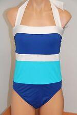 New Ralph Lauren Swimsuit Bikini 1 piece Size 6 White Cob Blue