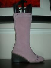 FLY LONDON WOMEN'S BOOTS CALF LENGTH WEDGES PINK LEATHER SUEDE EU 37 / UK 4