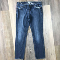 Maurices Straight Blue Jeans Size 3/4 Short Stretch Medium Wash Low Rise 32x29