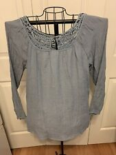Women's Clothing KNOX ROSE Faded Blue Crochet Lace Trim Blouse Shirt Top Size X1