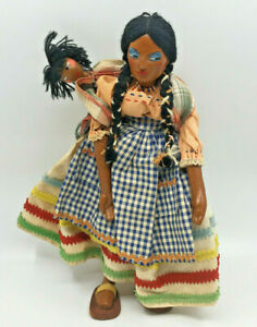 Mexican Doll with Baby on Back Clay Gingham Braids Papoose Vintage Wood Ric Rac
