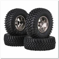 4 x RC1:10 Rock Crawler Grey Alloy 5 Spoke Wheel Rim + Simulation Rubber Tyre