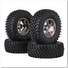 4 x RC1:10 Rock Crawler Grey Alloy 5 Spoke Wheel Rim + Simulation Rubber Tyre