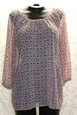 Matilda Jane Peasant Boho Top Size Medium Pink Floral Sheer 3/4 Sleeve