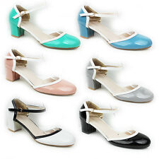 WOMENS MID HIGH HEEL ANKLE STRAP CUT OUT COURT SHOES LADIES SANDALS NEW SIZE 3-8