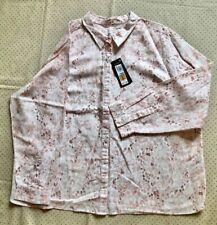 Marks & Spencer's Ladies Linen Mix Shirt, UK 24, Pink/White Print, Long Sleeves