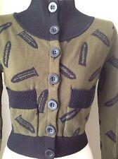 Betsey Johnson Sweater/Army/Olive Green GUN Bullet Cardigan/Crop Sweater Sz M