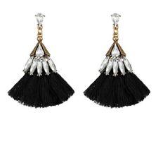 Stunning Black Tassel White Crystal Stud Dangle Fashion Statement Earrings