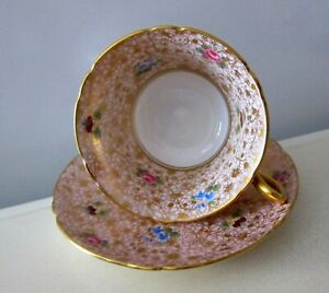 RARE SHELLEY CHINTZ ROSES GOLD ACCENT COFFEE TEACUP SAUCER TEA CUP ENGLAND