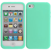 For iPhone 4S 4G 4 Silicone Soft Rubber Skin Case Cover Accessory Mint Green
