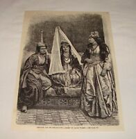1884 magazine engraving ~ GROUP OF DRUSE WOMEN Lebanon