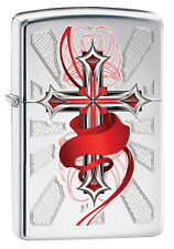 Zippo New 2014 Choice Catalog  Cross with Red Ribbon High Polish Chrome 28526