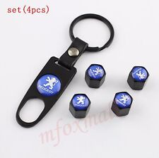 4PCS Car Wheel Air Tire Tyre Valve Dust Cap Stem Cover For Peugeot Part Key Ring