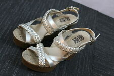 Women's Mix No 6 Sliver/Goldish Braided strappy Summer Wedge Heels Shoes SZ 7.5