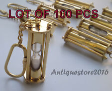 NAUTICAL COLLECTIBLE SANDTIMER GOLDEN FINISH KEY CHAIN RING LOT OF 100 PCS GIFT