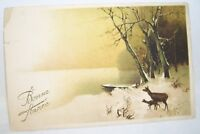French Postcard Happy New Year Bonne Annee With Deer Early 1900's