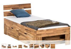 100x200 Holzbett mit Bettkasten Kernbuche Massiv geölt