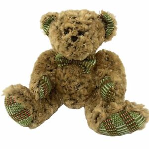 Homerbest Teddy Bear Large Plush Brown With Green Plaid Bow Ears and Feet