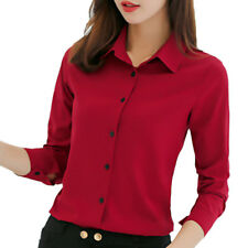 Women Botton Blouse Chiffon Career Solid Office Work Long Sleeve Shirts Tops