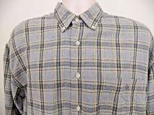 Benetton USA Flannel Shirt Men's Large L Gray Beige Plaid Cotton D975