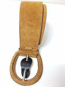 Ralph Lauren  Women's Covered-Buckle Suede Brown Wide Belt Size L