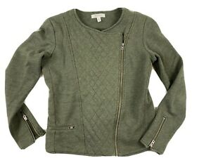 Athleta Women's Green Diagonal Zip Cropped Jacket Size Small Quilted