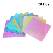 50pcs Iridescent Paper Square Shiny Folding Paper DIY Origami Handcraft Papers