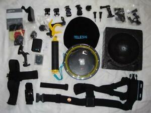 LG LOT OF GOPRO CAMERA ACCESSORIES TELESIN UNDERWATER DOME VARIOUS MOUNTS PIECES