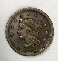 1849 Braided Hair Large Cent 1¢ Extremely Fine
