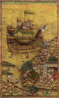 Hand-Painted Indian Miniature Art Miskin Shah Jahan Noah's Ark Mughal Painting