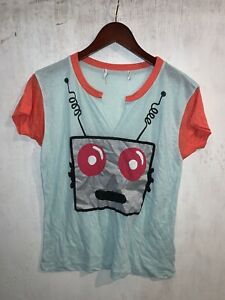 """Wildfox Couture Women's Blue & Red """"Robot"""" Graphic Tee. Sz. XS"""