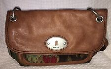 FOSSIL Maddox Tapestry Flap Convertible Shoulder Bag Purse Crossbody-VERY NICE