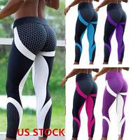 US Womens Sport Compression Fitness Leggings Running Yoga Gym Slim Pants JR15