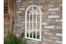 Distressed White 20 Panel Arched Mirror Wall Mountable Hanging Home Garden Decor