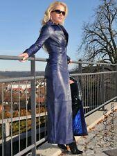 Ledermantel Leder Mantel Blau Bodenlang Figurbetont Maßanfertigung