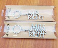 Set 2 Mr Mrs Right Keyring Gift Wedding Anniversary Silver Plated Key Ring Charm