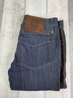 Roberto Cavalli Men's Dark Blue Denim Leather Strip Straight Jeans Size 46 UK 36