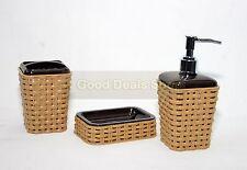 Stylish 3pc Bathroom Accessory Set Tumbler Lotion Dispenser Soap Tray Gift Brown