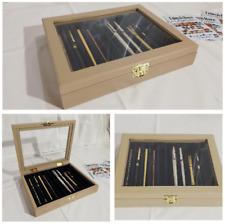 Cofanetto per 10 Penne da collezione vetrinetta in legno Tortora Coins&More