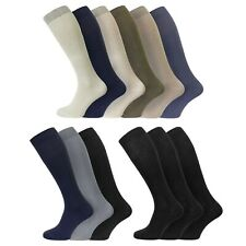 Mens Extra Long 100% Soft Cotton Knee High Socks UK Size 6-11 EU 39-45 US 7-12